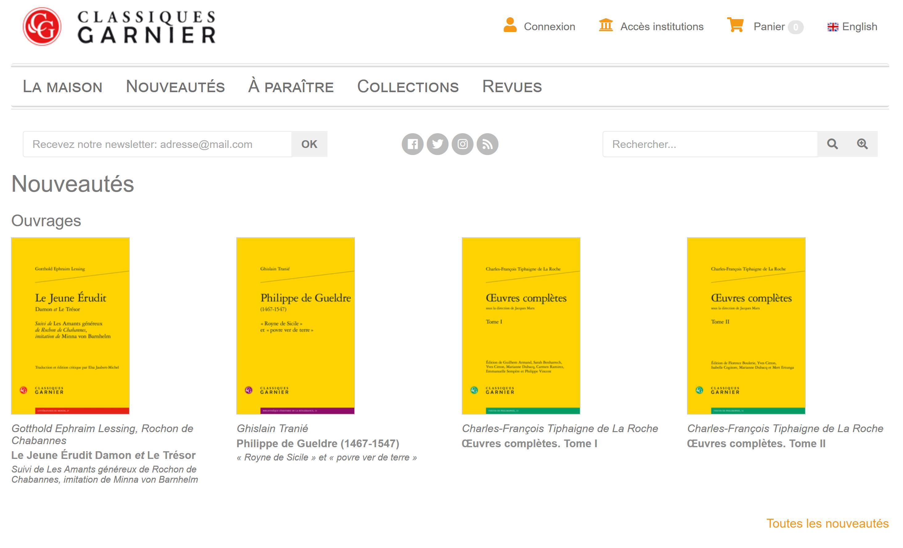 Classiques Garnier numérique interface