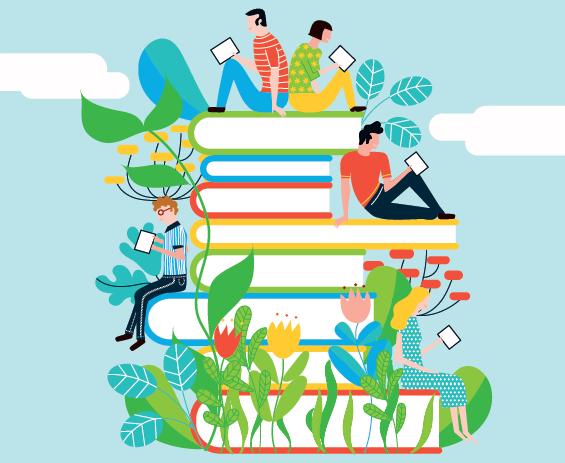 Image Service communication UT2J - étudiantes et étudiantes lisant sur support numérique, assis sur des piles de livres papier