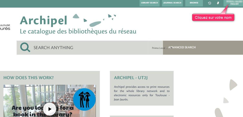 Changer la langue d'Archipel : après identification, cliquez en haut à droite sur votre nom