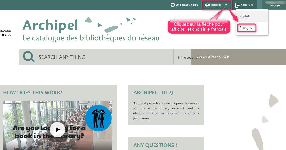 Changer la langue d'Archipel : cliquez sur la flèche du menu déroulant pour afficher les langues et choisir celle que vous souhaitez