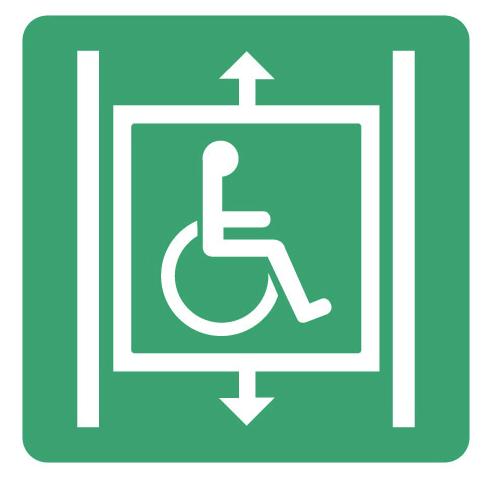 pictogramme ascenseur évacuation personnes handicapées