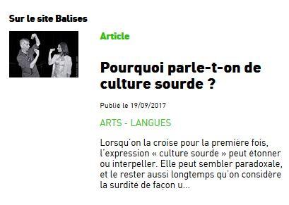 Article de Balises : Pourquoi parle-t-on de culture sourde ?