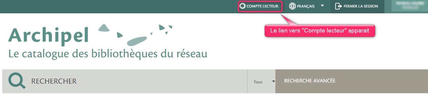 """Compte lecteur : cliquez sur le lien """"compte lecteur"""""""