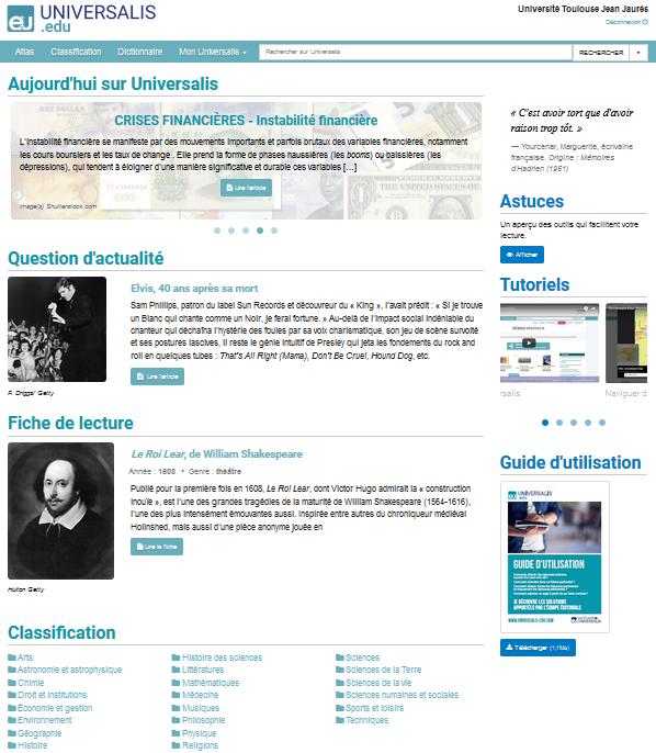 Copie écran Encyclopaedia Universalis