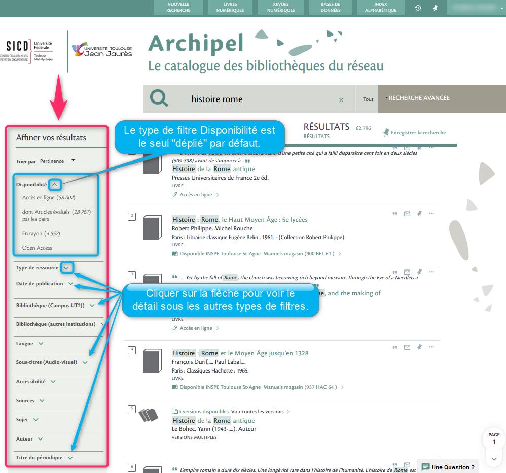 Copie écran d'une page de résultats