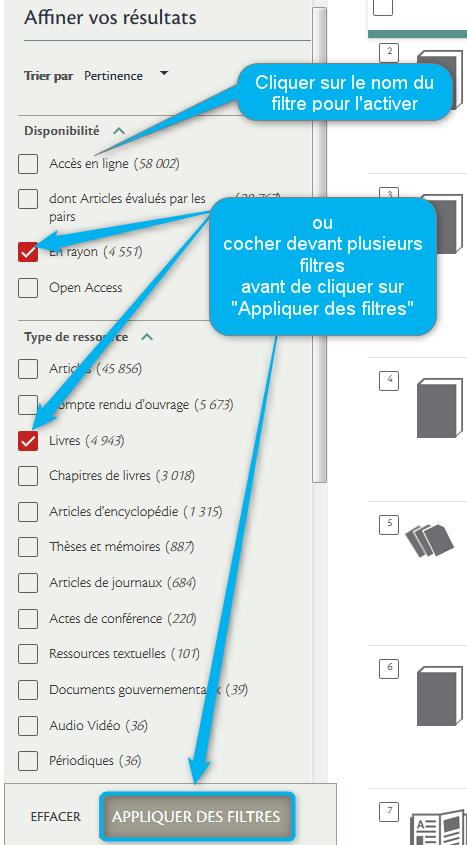 On peut sélectionner plusieurs filtres en se positionnant devant leur nom, ce qui fait apparaître une case à cocher, ainsi qu'un bouton Appliquer des filtres sur lequel il faut cliquer une fois la sélection faite.