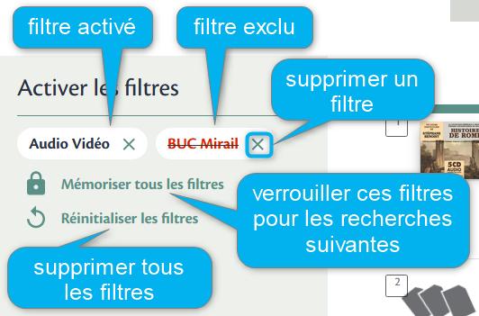Copie-écran : filtres activés et exclus. Verrouiller ou supprimer les filtres